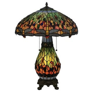 "Meyda Tiffany 118845 25"" H Tiffany Hanginghead Dragonfly Lighted Base Table Lamp - Gold"