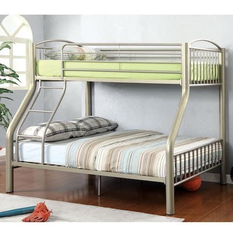 Furniture of America Laji Modern Gold Twin over Full Metal Bunk Bed