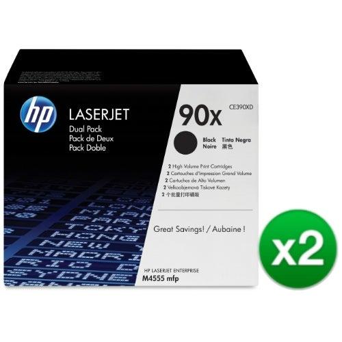 HP 90X High Yield Black Original LaserJet Toner Dual Cartridges (CE390XD)(2-Pack)
