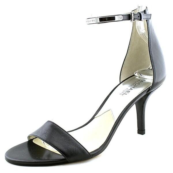 Michael Michael Kors Kristen Mid Women Open-Toe Leather Black Heels