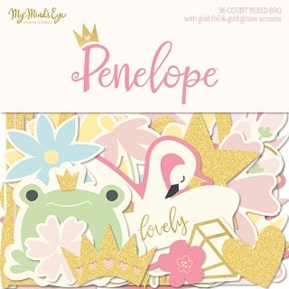 W/Gold Accents - Penelope Mixed Bag Cardstock Die-Cuts 56/Pkg