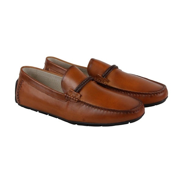 60bdeb4d742 Steve Madden Breezes-L Mens Brown Leather Casual Dress Slip On Loafers Shoes