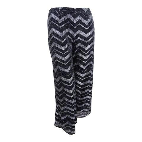 MSK Women's Metallic Chevron-Print Pants (6, Black/Silver) - 6