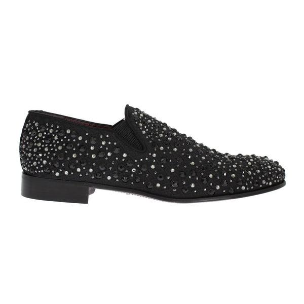 7b7b2f219 Shop Dolce & Gabbana Black Brocade Crystal Strass Loafers - Free ...
