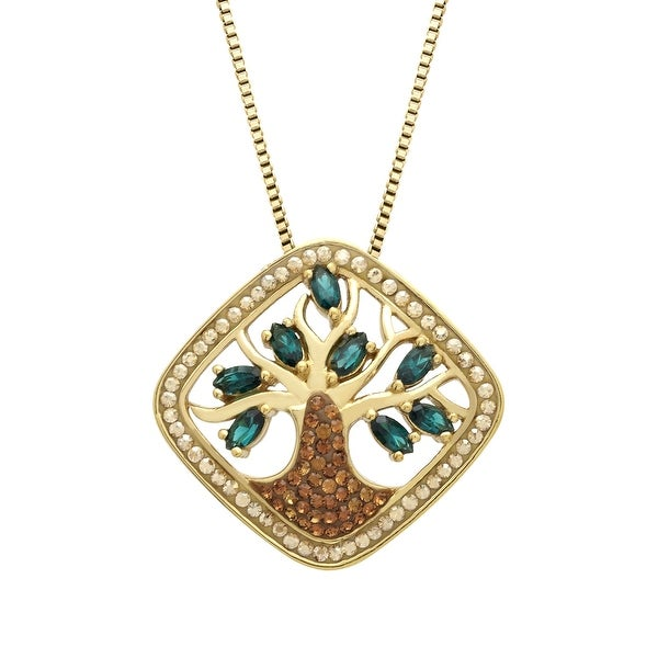 Crystaluxe Tree of Love Pendant with Swarovski Crystals in 18K Gold-Plated Sterling Silver - brown