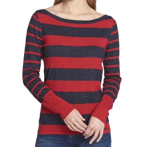 1b8c3a150 Shop Tommy Hilfiger Blue Women s Stripe Boat Neck Sweater - On Sale ...