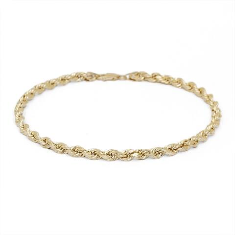 Mcs Jewelry Inc 10 KARAT YELLOW GOLD DIAMOND CUT ROPE CHAIN BRACELET (1.5MM)