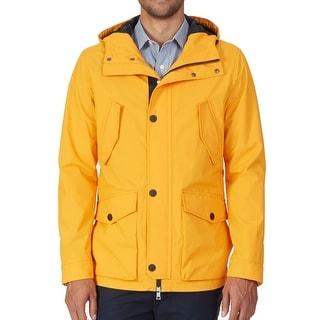 Nautica NEW Orange Tangelo Men Size Medium M Windbreaker Hooded Jacket