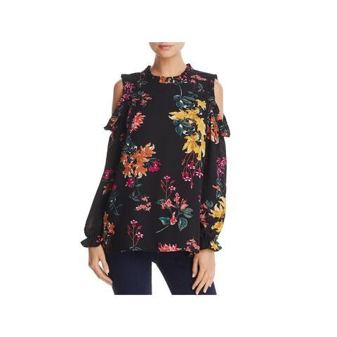 Cupio Womens Blouse Floral Print Cold Shoulder