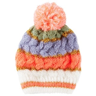 OshKosh B'gosh Big Girls' Chunky Knit Pom Beanie, 7-14 Kids