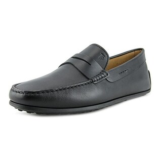 Tod's Mocassino Gomma VH Men A Round Toe Leather Black Loafer