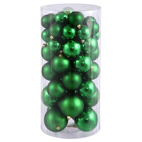 "50ct Xmas Green Shiny & Matte Shatterproof Christmas Ball Ornaments 2.4""-3""-4"""