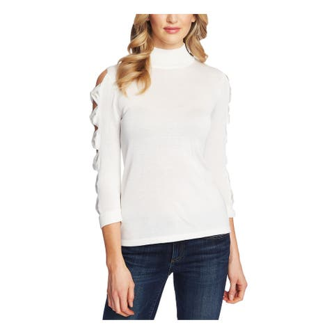 CECE Womens White Cut Out Long Sleeve Turtle Neck Sweater Size M
