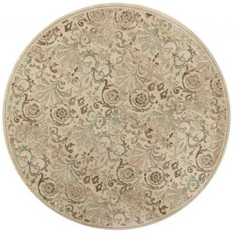 """8' Ivory and Light Green Round Area Rug - 7"""" X 7"""" X 1/2"""""""