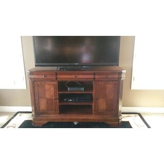 shop sheridan burnished cherry 60 inch entertainment tv console free shipping today. Black Bedroom Furniture Sets. Home Design Ideas