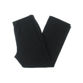 Kasper Womens Petites Audrey Pants Linen Pleat Front Black 14P