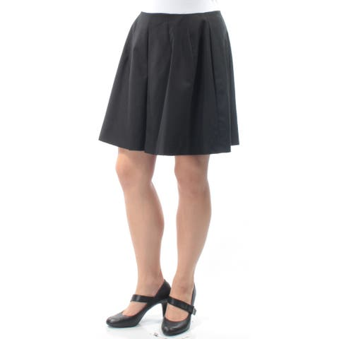 PHILOSOPHY Womens Black Pleated Above The Knee A-Line Skirt Size: 10