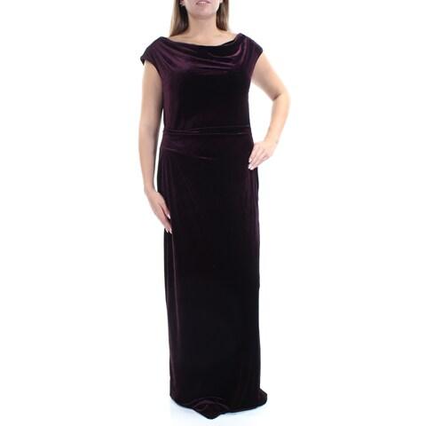 VINCE CAMUTO Womens Purple Velvet Cap Sleeve Jewel Neck FullLength Sheath Harem Formal Dress Size: 14
