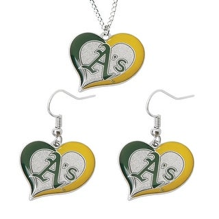 Oakland Athletics A's Swirl Heart Necklace and Dangle Earring Set MLB Charm Gift