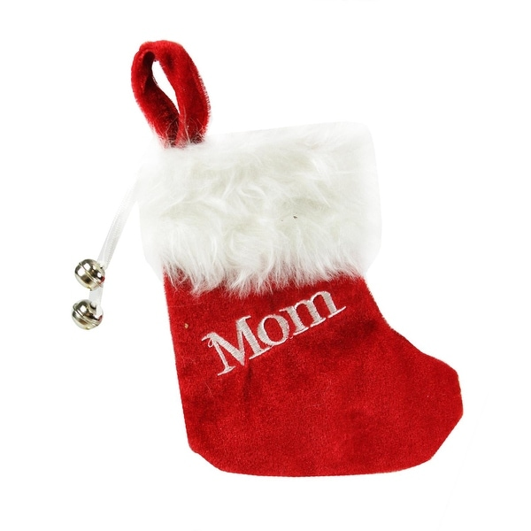 """7"""" Red & White """"Mom"""" Embroidered Mini Christmas Tree Stocking"""