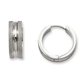 Stainless Steel Polished & Laser Cut Hinged Hoop Earrings