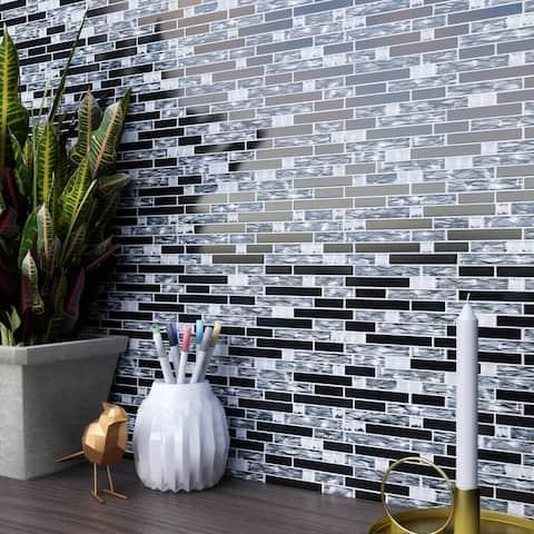 TileGen. Crystal Diamond Wallpaper Random Sized Glass Mosaic Tile in Silver/Black Wall Tile (10 sheets/9.6sqft.)