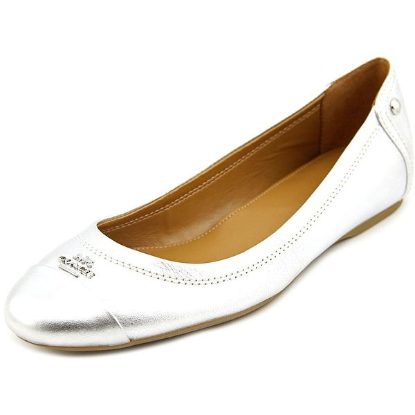 Coach Chelsea Women Round Toe Leather Silver Ballet Flats
