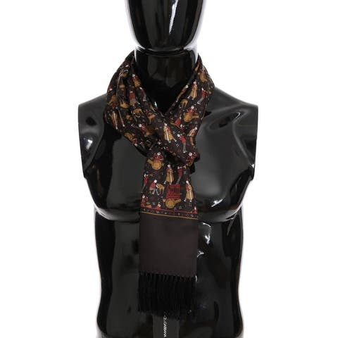 Dolce & Gabbana Brown Silk Music Print Men's Scarf - One Size