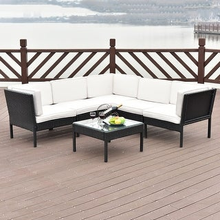 Costway 6 PCS Rattan Wicker Patio Furniture Set Steel Frame Sofa Cushioned  Black. Black  Rattan Patio Furniture   Shop The Best Outdoor Seating