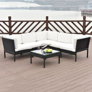 Costway 6 PCS Rattan Wicker Patio Furniture Set Steel Frame Sofa Cushioned  Black. Black  Rattan Patio Furniture   Outdoor Seating   Dining For Less