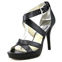 Michael Michael Kors Womens Evie Leather Open Toe Ankle Strap Platform Pumps