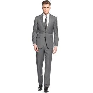 Kenneth Cole Reaction Slim Fit Grey Striped Suit 40 Long 40L Pants 33W