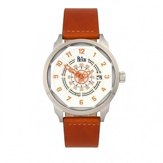 Reign Lafleur Automatic Leather-Band Watch w/Date - Silver/Orange