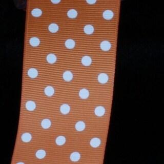 "Orange and White Polka Dots Woven Grosgrain Craft Ribbon 1.5"" x 88 Yards"