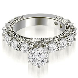 2.25 cttw. 14K White Gold Antique Round Cut Diamond Engagement Ring