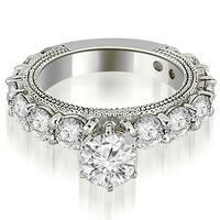 2.50 cttw. 14K White Gold Antique Round Cut Diamond Engagement Ring