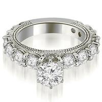 2.75 cttw. 14K White Gold Antique Round Cut Diamond Engagement Ring