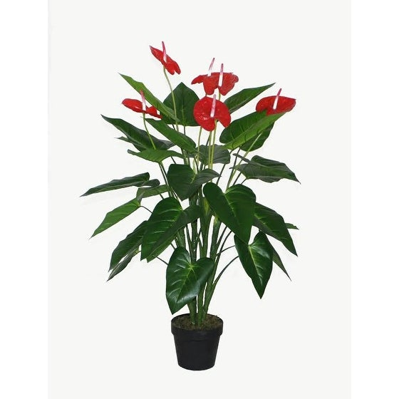 "41"" Decorative Potted Artificial Tropical Green and Red Anthurium Plant"