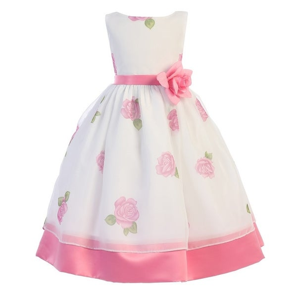 326f290eda7c9 Shop Girls Pink Rose Print Chiffon Satin Flower Girl Easter Dress - Free  Shipping On Orders Over $45 - Overstock - 18170791