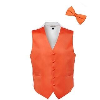 Tangerine Satin Tuxedo Vest and Bow Tie