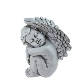 "7"" Heavenly Gardens Gainsboro Gray Right Facing Sleeping Cherub Angel Outdoor Patio Garden Statue"