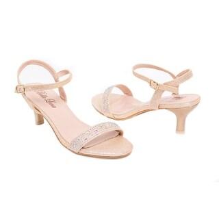 Low-Heel Embellished Glitter Pump