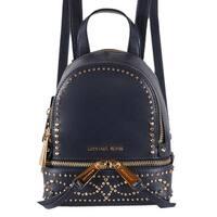 """Michael Kors Dark Blue Leather Embellished RHEA MINI XS Backpack Bag - 6.25""""W X 7.5""""H X 2.75""""D"""