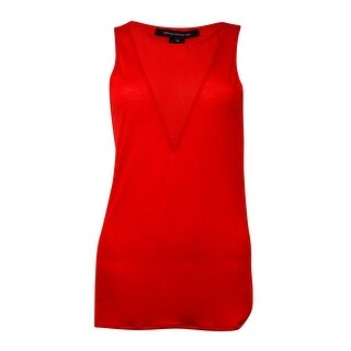 French Connection Women's 'Polly' Sleeveless V-Neck Blouse - Scarlet