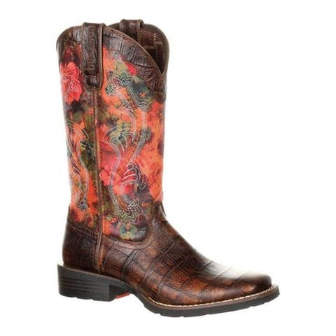 Durango Boot Women's DRD0226 Mustang Faux Exotic Pull-on Cowgirl Boot Gator Emboss/Floral Rose Full Grain Leather