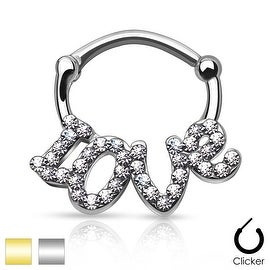 """Crystal paved """"LOVE"""" 316L Surgical Steel Round Septum Clicker (Sold Ind.)"""