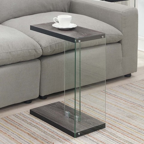 Porch & Den Urqhuart Modern Glass and Wood C-shaped End Table