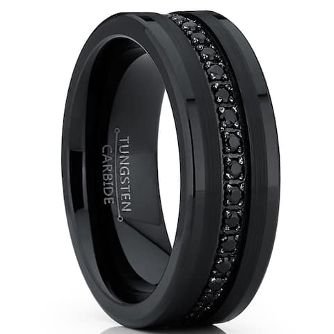 Tungsten Carbide Black Wedding Band Eternity Ring, Cubic Zirconia Inlay
