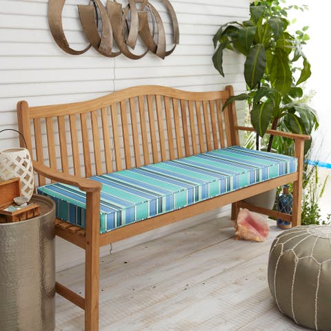 """Sunbrella Blue Teal Stripe Indoor/Outdoor Bench Cushion 37"""" to 48"""", Corded"""
