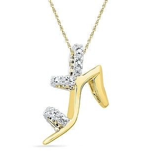 High Heel Shoe Pendant 10K Yellow-gold With Diamonds 0.1 Ctw By MidwestJewellery - White